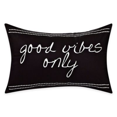 """Good Vibes Only"" Embroidered Cotton Throw Pillow in Black/White"