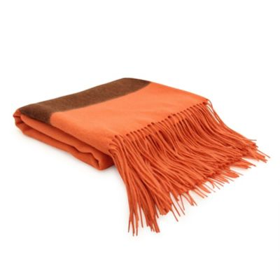 PUR Cashmere Striped Merino Wool Throw in Persimmon