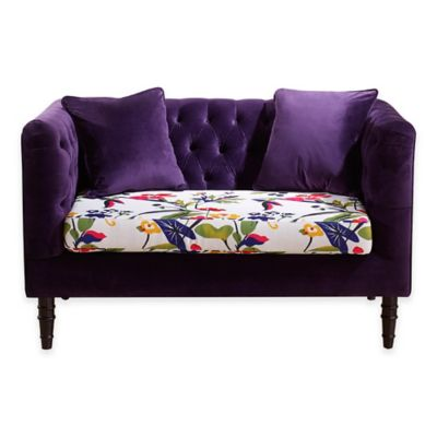 Baxton Studio Freya Loveseat in Purple Floral