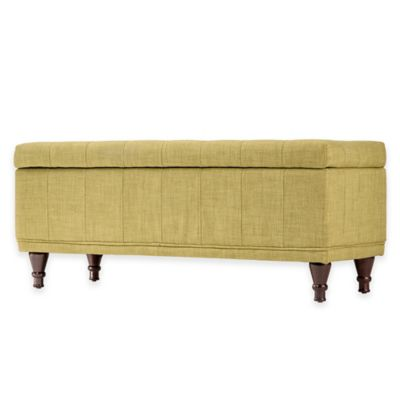 Verona Home Amelia Button Tufted Storage Bench in Tan