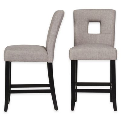 Verona Home Hayden Keyhole Counter Stools in Dark Grey (Set of 2)