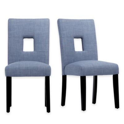 Verona Home Hayden Keyhole Side Chairs in Grey (Set of 2)