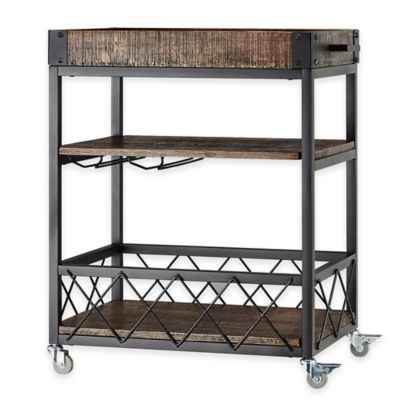 Verona Home Parkway Bar Cart in Grey