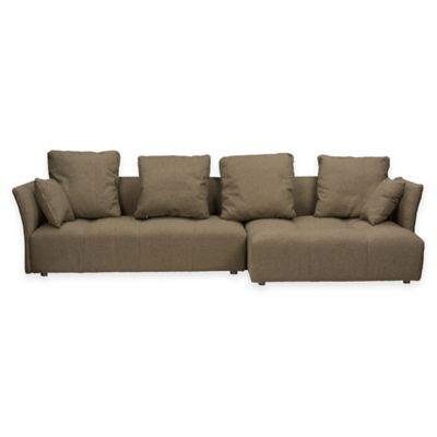 Baxton Studio Abbott 2-Piece Sectional Sofa with Right Chaise in Brown