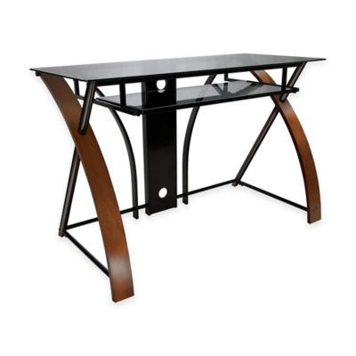 Bell'O® Computer Desk with Keyboard Tray in Black/Espresso
