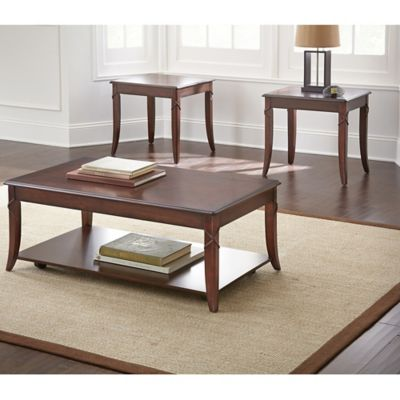 Steve Silver Co. Draco 3-Piece Table Set in Brown Cherry