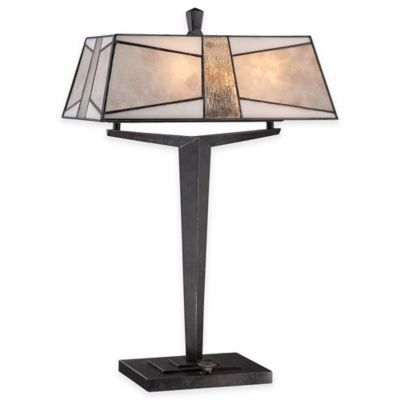 Quoizel Alistar 2-Light Table Lamp in Imperial Bronze with Mica Shade