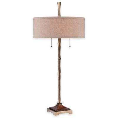 Quoizel Hickman 2-Light Table Lamp in Antique Bronze with Linen Shade