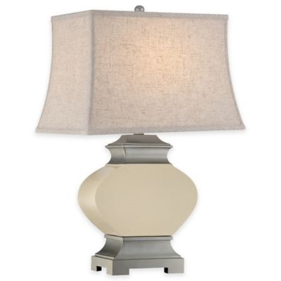 Quoizel Bray Table Lamp in Silver with Fabric Shade