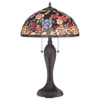 Quoizel Rosa 2-Light Table Lamp in Imperial Bronze with Glass Shade