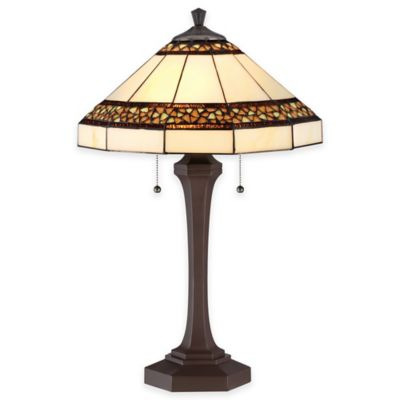 Quoizel Bragg Creek 2-Light Table Lamp in Russet with Glass Shade