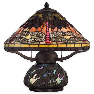 Quoizel Copperfly 2-Light Table Lamp in Imperial Bronze with Tiffany Glass Shade