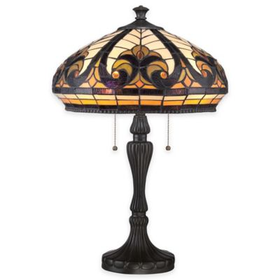 Quoizel Grand Bay 2-Light Table Lamp in Vintage Bronze with Glass Shade