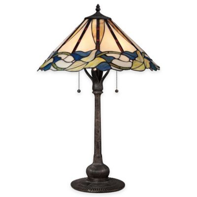 Quoizel Palmetto 2-Light Table Lamp in Imperial Bronze with Glass Shade