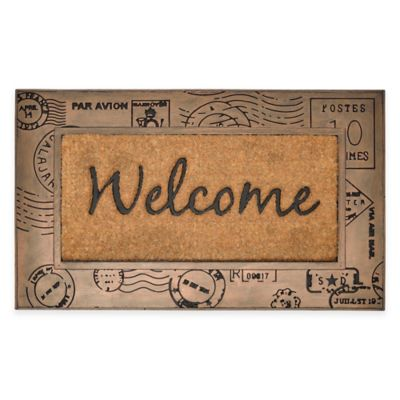 Postcard 18-Inch x 30-Inch Door Mat in Brown