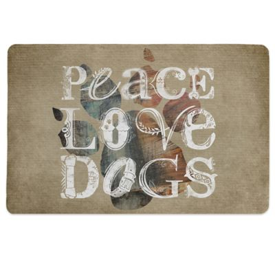 "Laural Home® ""Peace Love Dogs"" Pet Mat in Beige"
