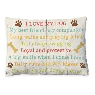 "Laural Home ""I Love My Dog"" Fleece Dog Bed"