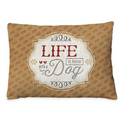 "Laural Home ""Life is Better with a Dog"" Fleece Dog Bed"