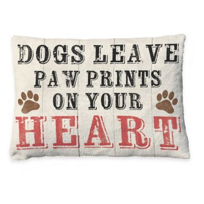 "Laural Home ""Paw Prints on Your Heart"" Fleece Dog Bed"