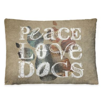 "Laural Home ""Peace Love Dogs"" Fleece Dog Bed"