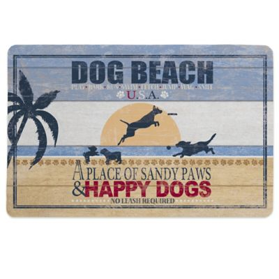 "Laural Home® ""Dog Beach"" Pet Mat in Blue"
