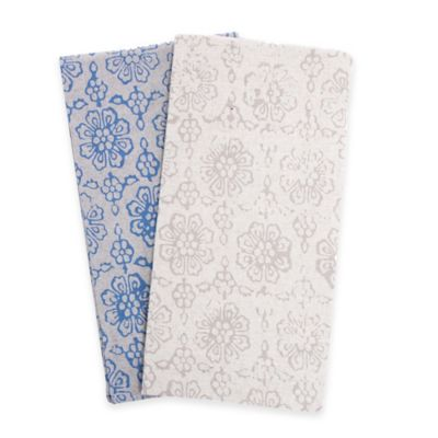 Belle Epoque La Rochelle Collection Floral Print Heathered Flannel Queen Sheet Set in Blue/Dark Blue