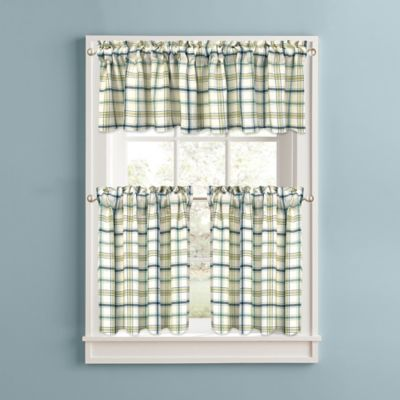 Bistro Plaid 24-Inch Kitchen Window Curtain Tiers