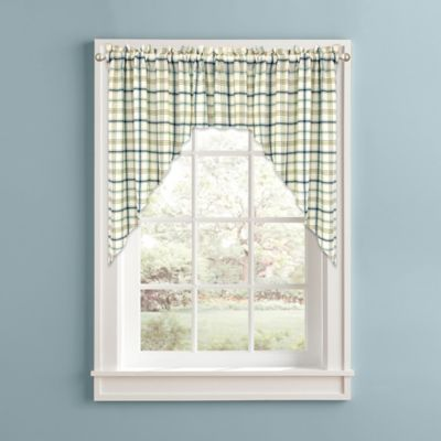 Bistro Plaid Kitchen Window Curtain Swag Pair