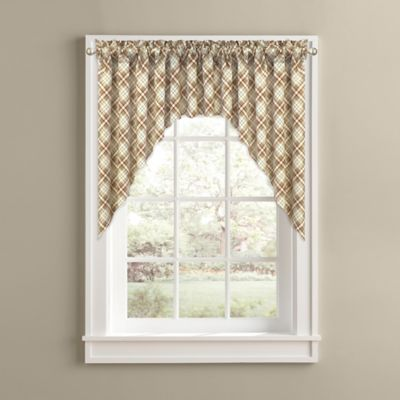 Woodland Plaid Kitchen Window Curtain Swag Pair