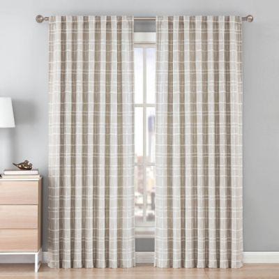 Be Artistic Ellis Grid 108-Inch Rod Pocket/Back Tab Window Curtain Panel in Tan