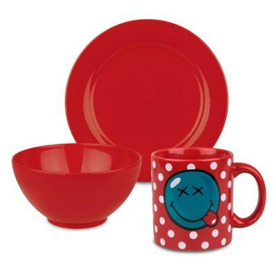 Waechtersbach Fun Factory 3-Piece Smiley Bliss Breakfast Set in Red