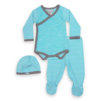 Coccoli 3-Piece Newborn Bodysuit, Footed Pant, and Hat Set in Aqua/Grey