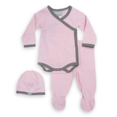 Coccoli Newborn 3-Piece Bodysuit, Footed Pant, and Hat Set in Pink/Grey