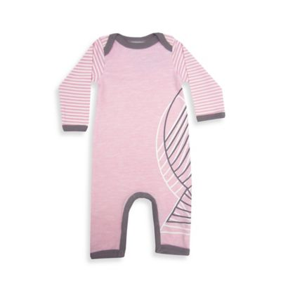 Coccoli Size 3M Fish Heather/Stripe Coverall in Pink/Grey