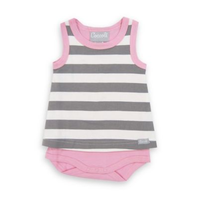 Coccoli Size 6M Sleeveless Striped Babydoll Bodysuit in Grey/Pink