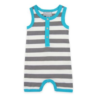 Coccoli Size 6M Sleeveless Striped Muscle Baby Romper in Grey/Aqua