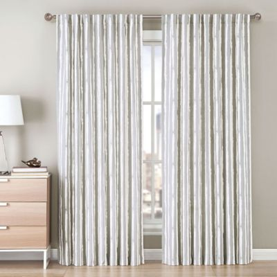 Be Artistic Ellis Painted Stripe 63-Inch Rod Pocket/Back Tab Window Curtain Panel in Green