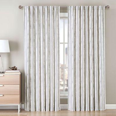 Be Artistic Ellis Painted Stripe 108-Inch Rod Pocket/Back Tab Window Curtain Panel in Green