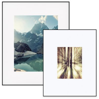 Artcare™ 8-Inch x 10-Inch Aluminum Picture Frame in Black with Wide Mat