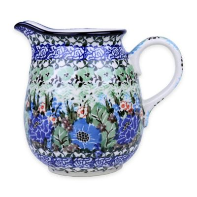 Polish Pottery Maple Syrup Pitcher in Green