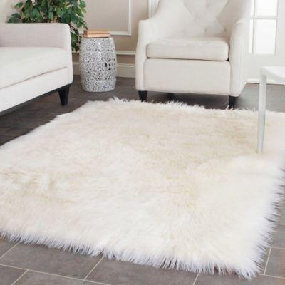 Safavieh Faux Sheep Skin 4-Foot x 6-Foot Area Rug in Ivory
