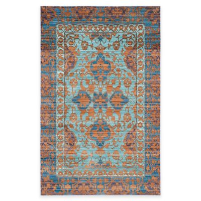 Safavieh Valencia Panel 3-Foot x 5-Foot Area Rug in Blue/Gold