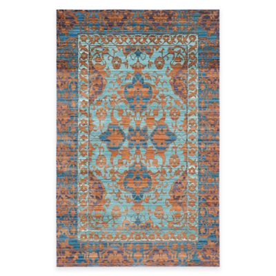 Safavieh Valencia Panel 5-Foot x 8-Foot Area Rug in Blue/Gold