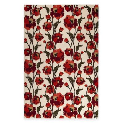 Fiore 5-Foot 2-Inch x 7-Foot 6-Inch Area Rug in White/Red