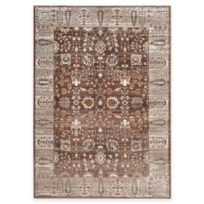 Safavieh Valencia Floral Border 2-Foot 3-Inch x 8-Foot Runner in Brown/Beige
