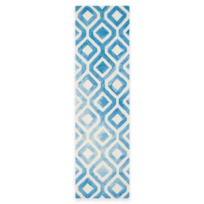 Safavieh Dip Dye Mod Diamond 2-Foot 3-Inch x 8-Foot Runner in Ivory/Blue