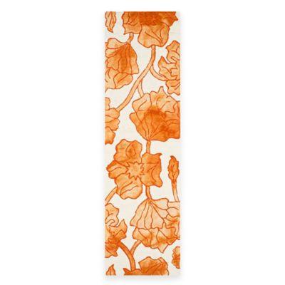 Safavieh Dip Dye Floral 2-Foot 3-Inch x 8-Foot Runner in Ivory/Orange