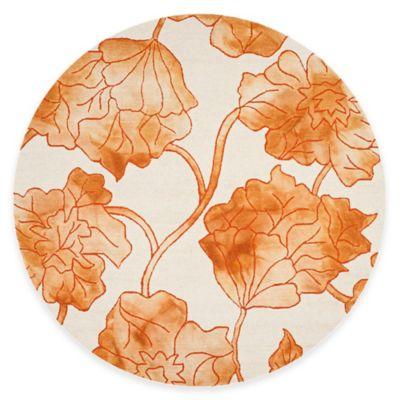 Safavieh Dip Dye Floral 7-Foot Round Area Rug in Ivory/Orange