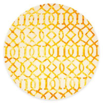 Safavieh Dip Dye Entwine 7-Foot Round Area Rug in Ivory/Gold