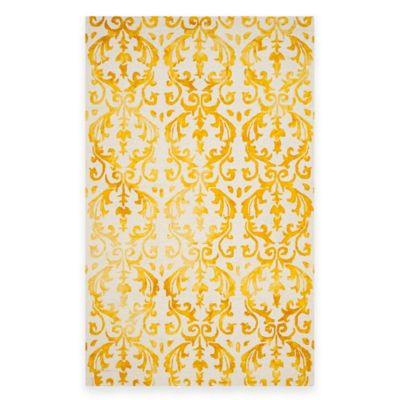Safavieh Dip Dye Damask Stripe 8-Foot x 12-Foot Area Rug in Ivory/Gold
